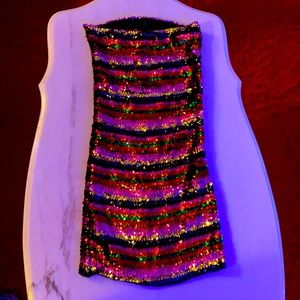 Sequin strapless party tube dress